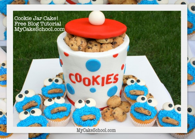 CUTE Cookie Jar Cake Tutorial with Cookie Monster Cupcakes! Free step by step cake tutorial by MyCakeSchool.com! Online cake classes and cake recipes!