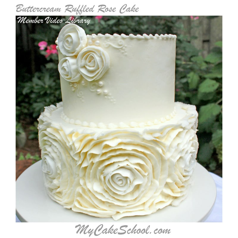 Buttercream Ruffled Roses Cake~A Cake Decorating Video! My Cake School