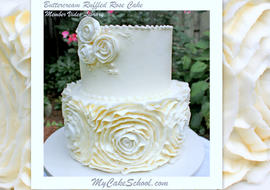 Elegant Buttercream Ruffled Roses Cake in this cake decorating video tutorial by MyCakeSchool.com!