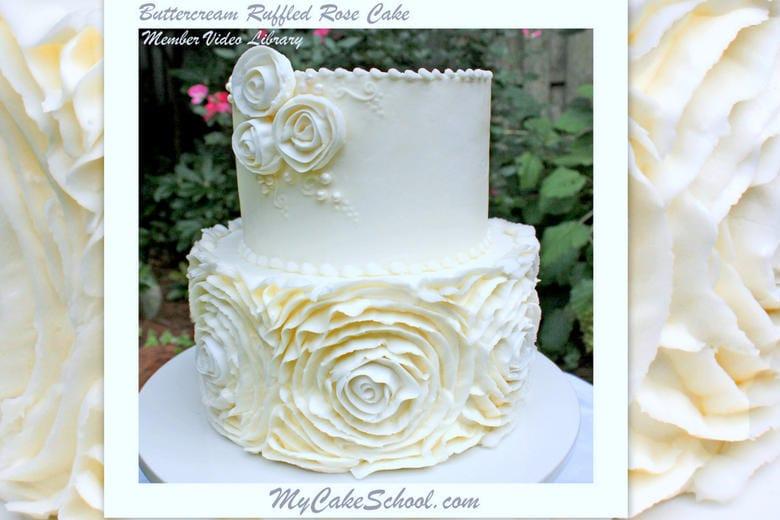 Elegant Buttercream Ruffled Roses Cake in this cake decorating video tutorial by MyCakeSchool.com!