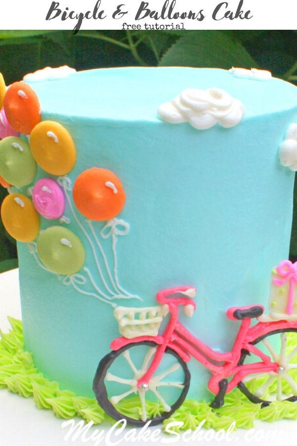 Cute & Easy Bicycle and Balloons Cake- A Free Tutorial