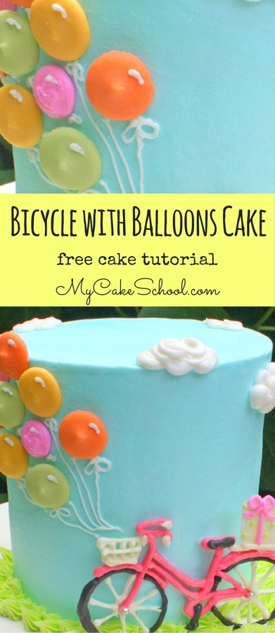The CUTEST Bicycle with Balloons Step by Step Cake Tutorial by MyCakeSchool.com. Free Tutorial!