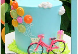 Bicycle with Balloons Cake! Free cake decorating tutorial by MyCakeSchool.com!