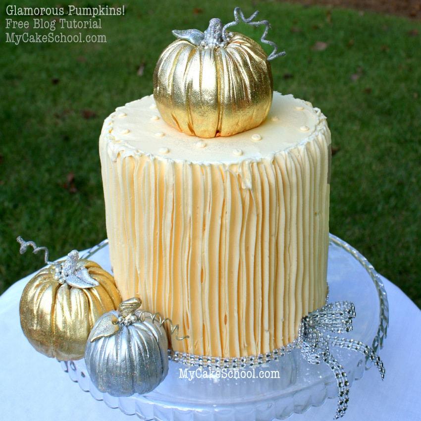 Glamorous Pumpkin Cake Topper~MyCakeSchool.com free blog tutorial!