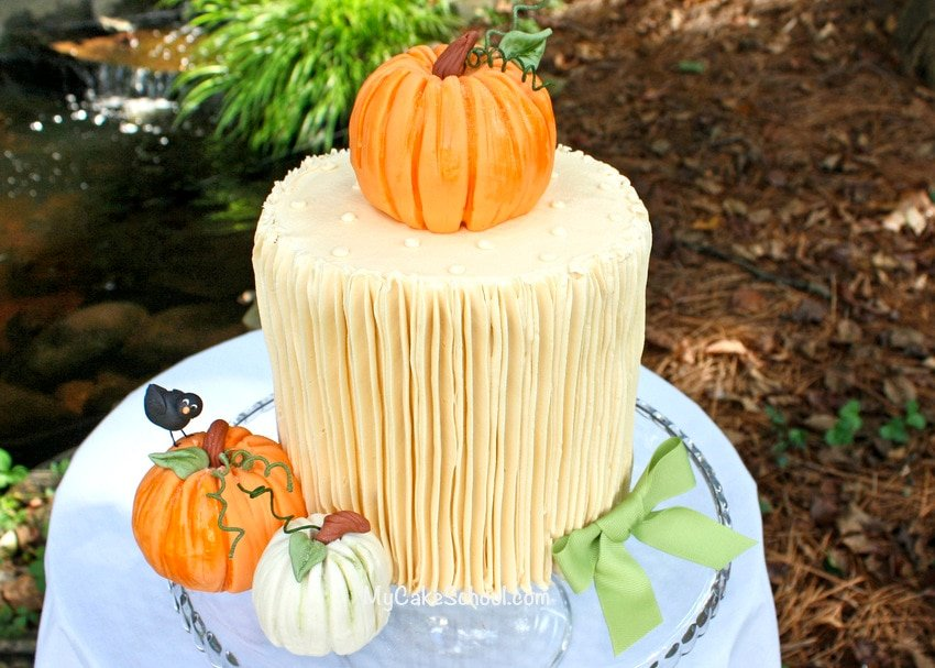 Learn how to make gorgeous pumpkin cake toppers in this free cake decorating tutorial by MyCakeSchool.com!