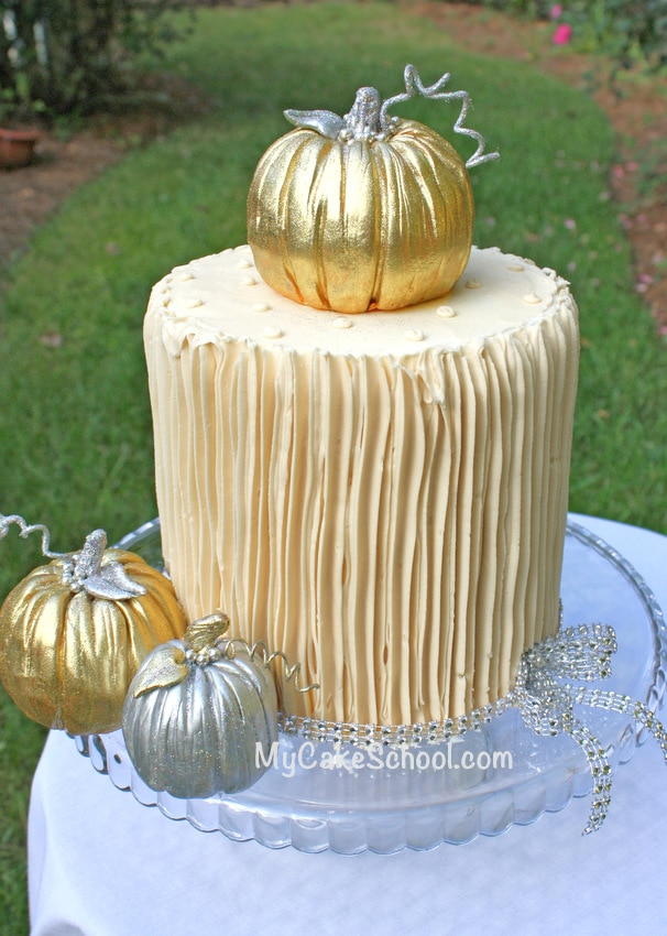Learn to make gorgeous pumpkin cake toppers for your fall cakes! Free cake tutorial by MyCakeSchool.com!