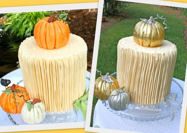 Learn to make gorgeous pumpkin cake toppers in this free fall cake tutorial by MyCakeSchool.com! We'll show you how to make both natural and gold versions!