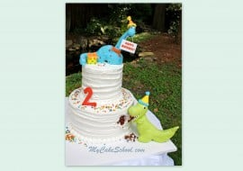 Learn to Make Dinosaur Cake Toppers in this adorable Dinosaur themed cake video tutorial! MyCakeSchool.com.