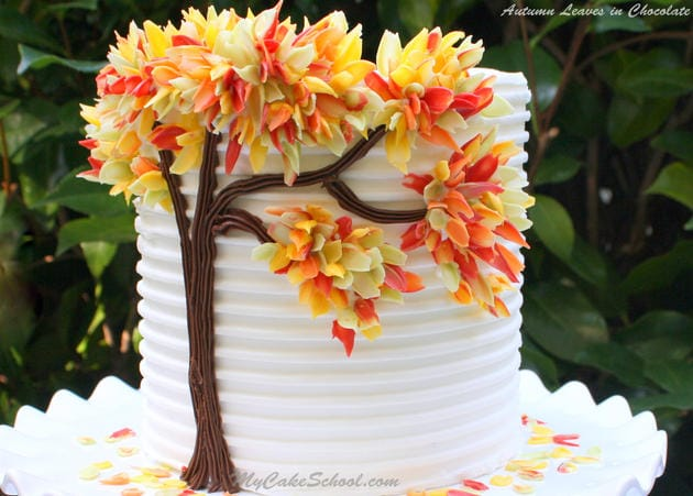 "Free Cake Tutorial by MyCakeSchool.com! Gorgeous ""Autumn Leaves in Chocolate"" cake design by MyCakeSchool.com"