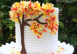 Elegant Autumn Leaves in Chocolate! A free step by step cake tutorial by MyCakeSchool.com! Perfect for fall entertaining!