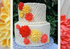 Learn to pipe beautiful buttercream chrysanthemums on textured buttercream in this fall-themed My Cake School video tutorial!