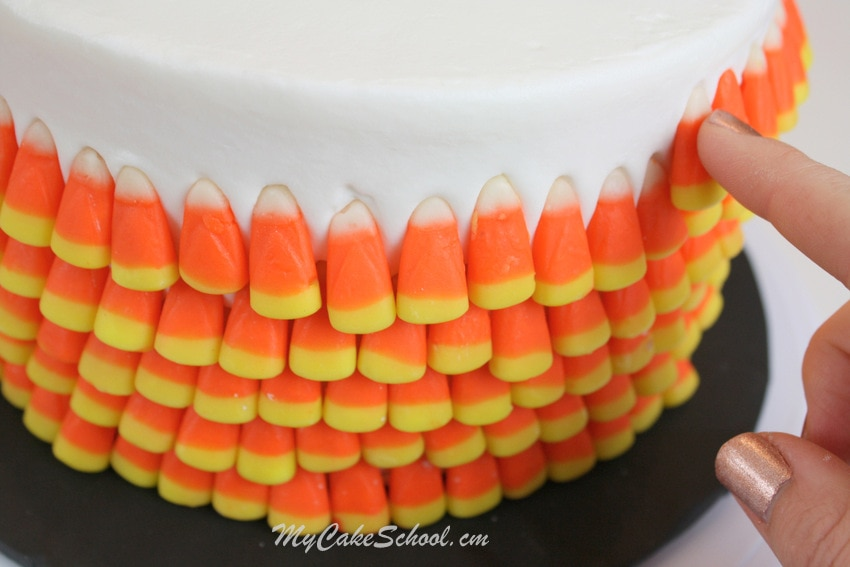 Candy Corn Cake~ Blog Tutorial by MyCakeSchool.com