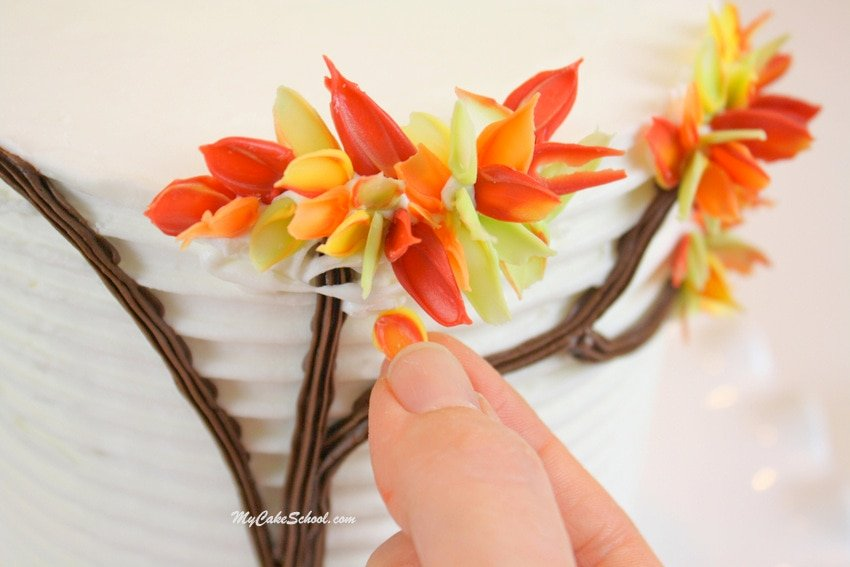 Autumn Leaves in Chocolate- Free cake decorating tutorial by MyCakeSchool.com!