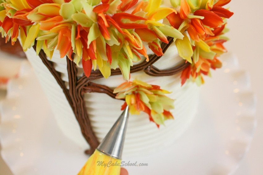 Autumn Leaves in Chocolate- Free cake decorating tutorial by MyCakeSchool.com! Online cake tutorials, cake videos, recipes, and more!
