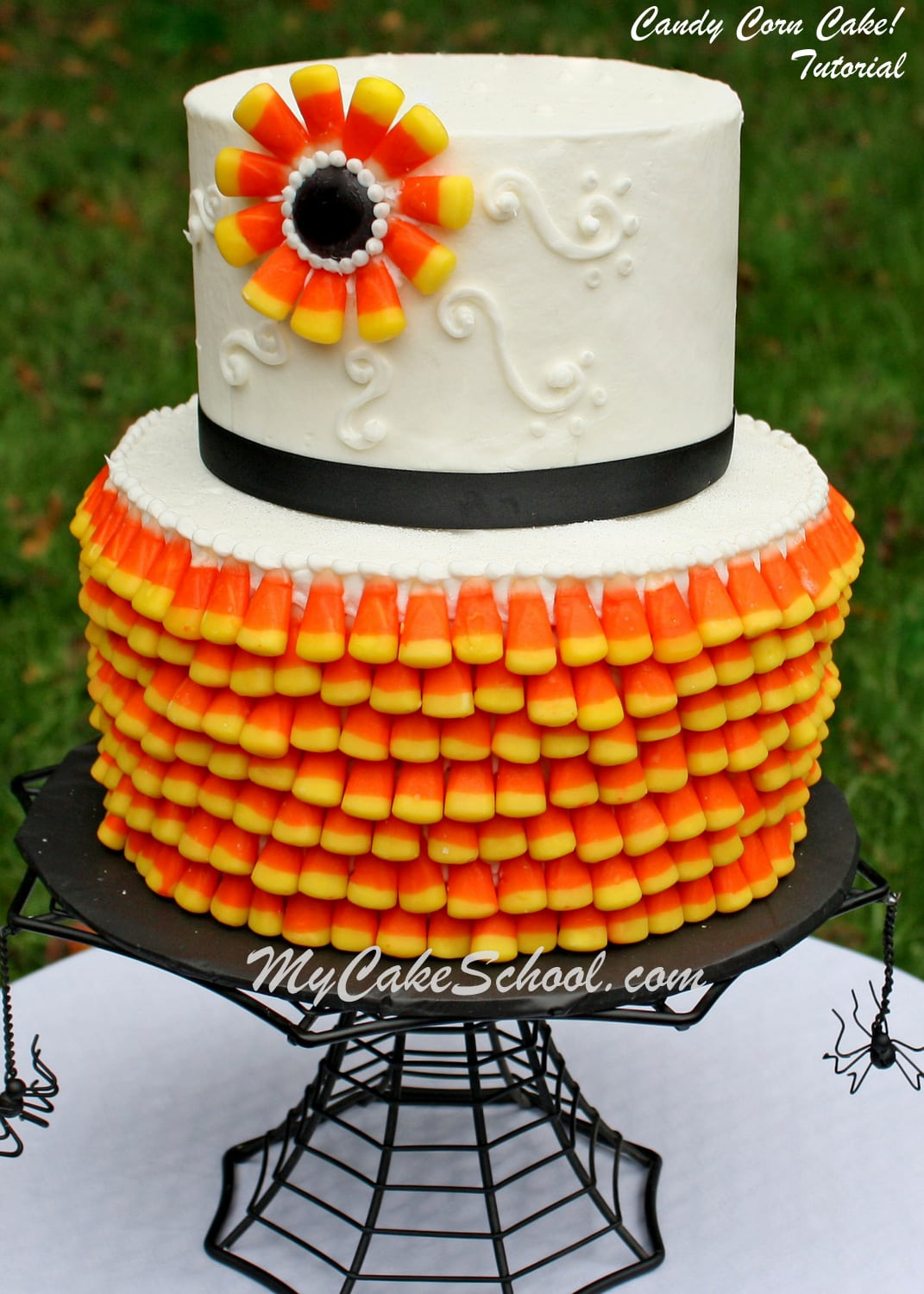 Candy Corn Cake! A Free Tutorial from MyCakeSchool.com