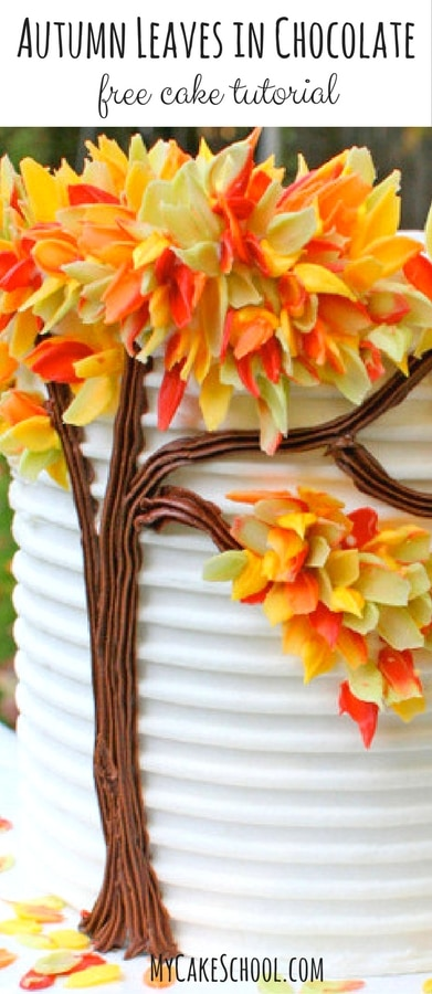Autumn Leaves in Chocolate! A free fall cake tutorial by MyCakeSchool.com! So simple and fun!