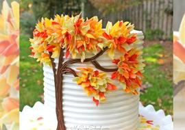 Autumn Leaves in Chocolate- A Free Cake Tutorial