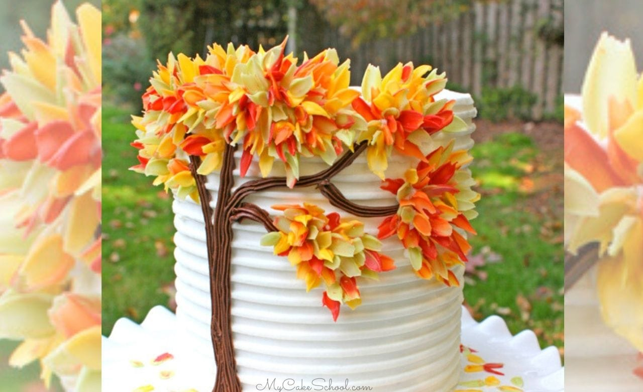 Autumn Leaves in Chocolate- A Free Cake Tutorial! This beautiful cake design is easier than it looks to achieve! The perfect cake for fall birthdays, Thanksgiving, and entertaining!