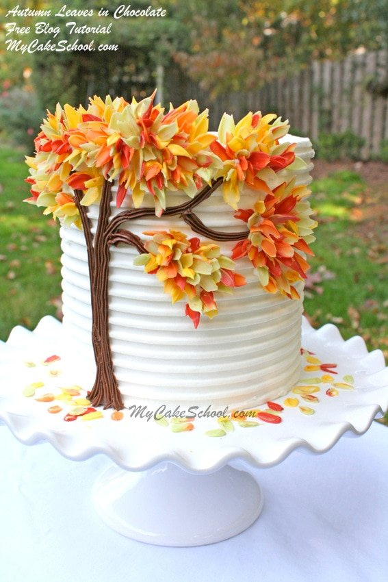 Autumn Leaves in Chocolate- Free cake decorating tutorial by MyCakeSchool.com! So simple!