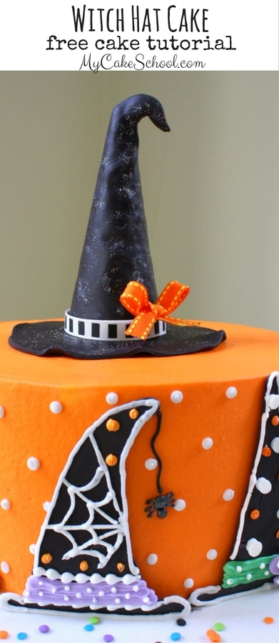 Free Halloween Cake Tutorial! Learn to make a witch hat themed cake with a cute witch hat cake topper! MyCakeSchool.com
