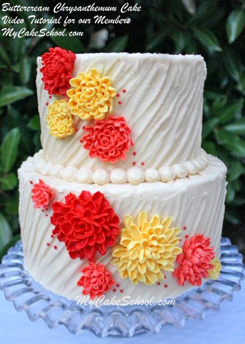 This beautiful Buttercream Chrysanthemum Cake Decorating Video Tutorial is perfect for Fall Gatherings and Thanksgiving Celebrations! MyCakeSchool.com Member Cake Video Tutorial!