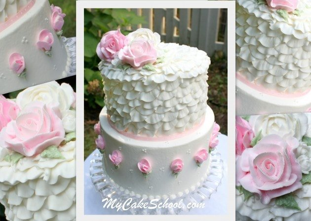 Beautiful Buttercream Roses and Ruffles! A Shabby Chic Buttercream Cake Decorating Video by My Cake School!