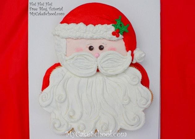 Sweet Santa Cupcake Cake Tutorial by MyCakeSchool.com! Online Cake Tutorials & Recipes!