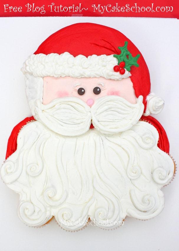 CUTE and simple Santa Cupcake Cake Tutorial!