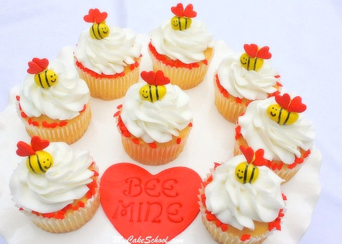 So cute for Valentine's Day! Bee Mine cakes and cupcakes! MyCakeSchoool.com