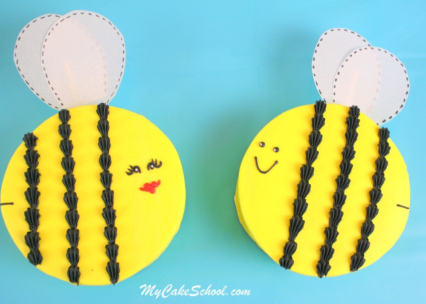 Adorable Bee Mine Valentine's Day Cake and Cupcake Tutorial by MyCakeSchool.com! Perfect for Valentine's Parties!