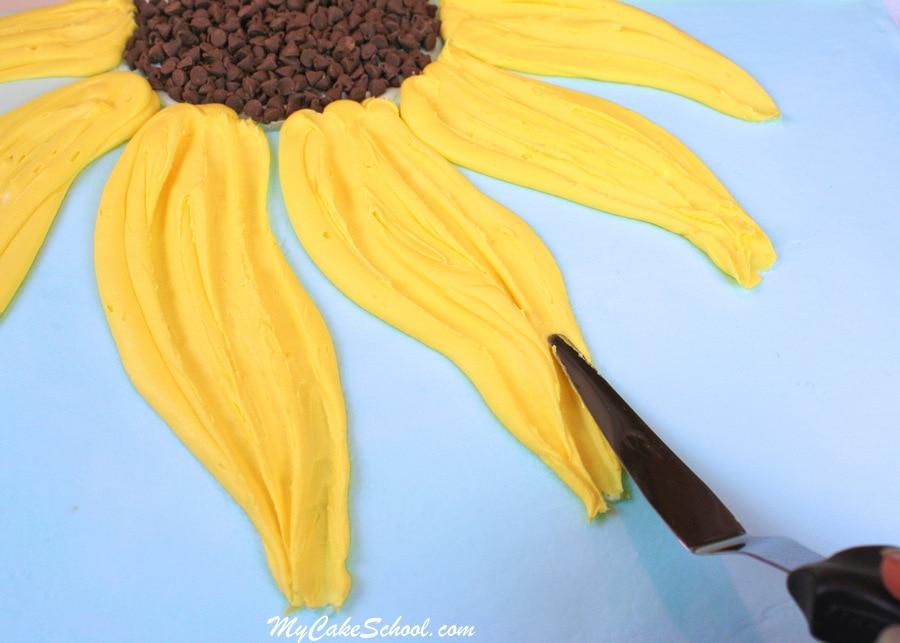 Sunflower Sheet Cake Tutorial by MyCakeSchool.com!