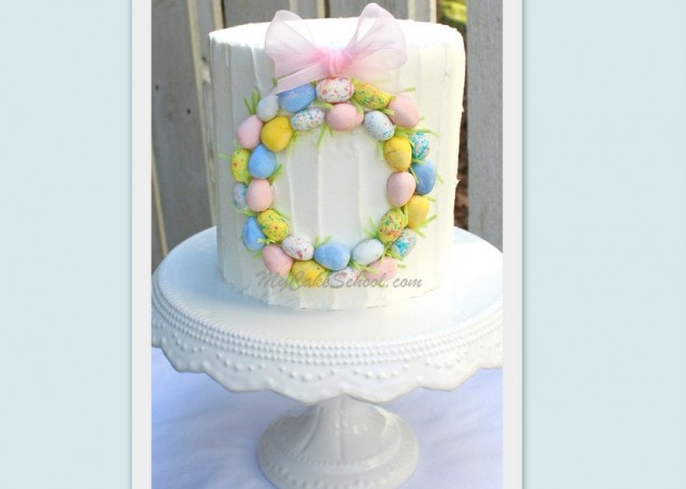 Simple easter wreath cake blog tutorial mycakeschool blog for How to make a spring wreath from scratch