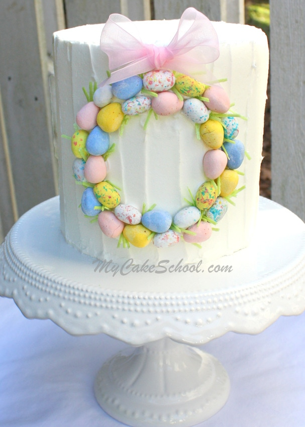 Easter Cake Decorating Recipes : Simple Easter Wreath Cake~ Blog Tutorial My Cake School