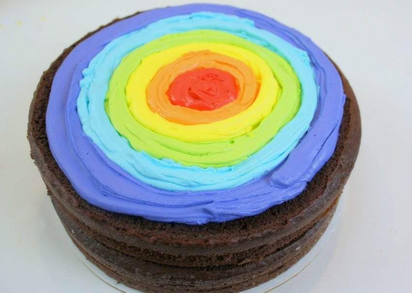 Learn how to make rainbow buttercream filling in this free cake tutorial by MyCakeSchool.com!