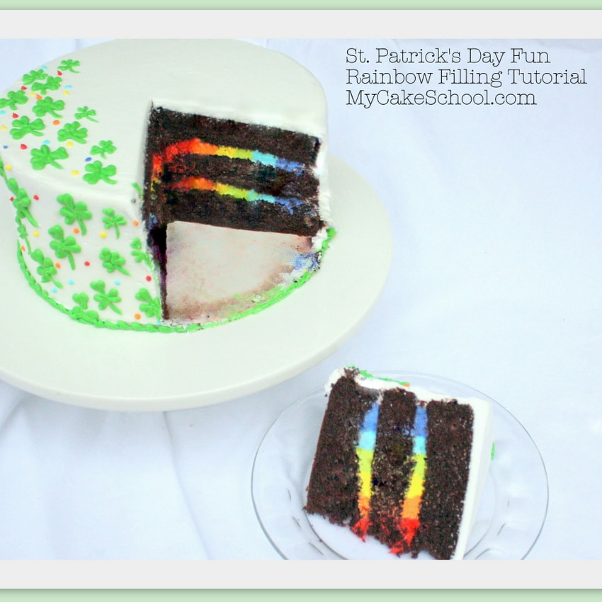 Learn to make striped buttercream rainbow filling in this free cake decorating tutorial by MyCakeSchool.com! Perfect for St. Patrick's Day!