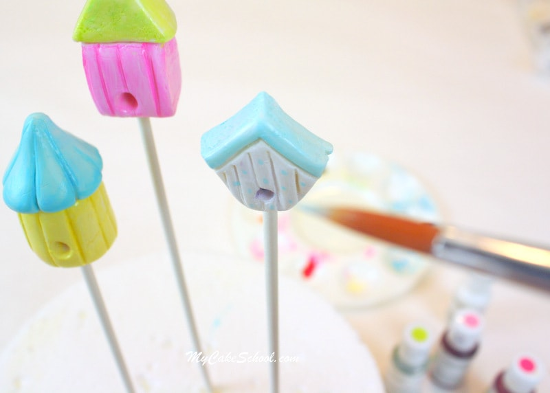 Birdhouse Cake Topper Tutorial by MyCakeSchool.com! Free step by step tutorial! SO cute and simple!