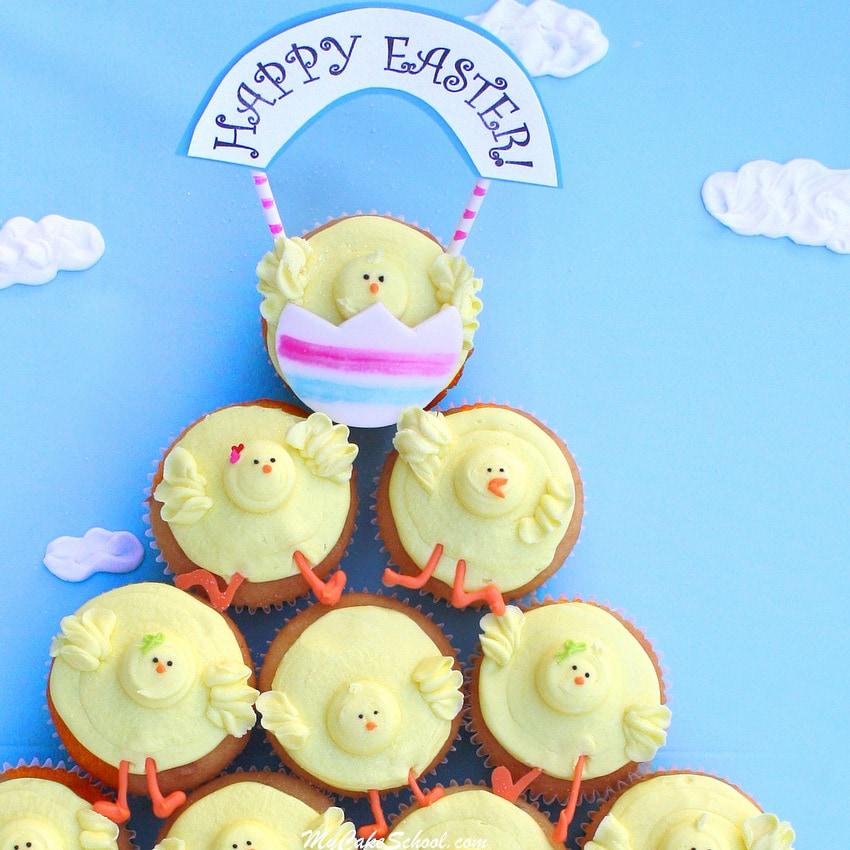 CUTE Buttercream Cupcake Chicks! From a free tutorial by MyCakeSchool.com! Online Cake Decorating Tutorials & Recipes!