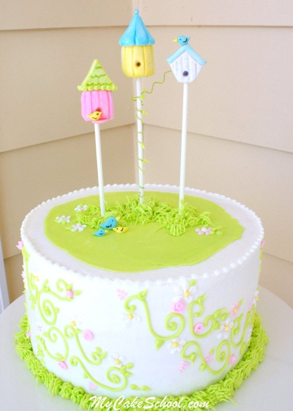 The cutest Birdhouse Cake Topper Tutorial by MyCakeSchool.com! Free cake tutorial!