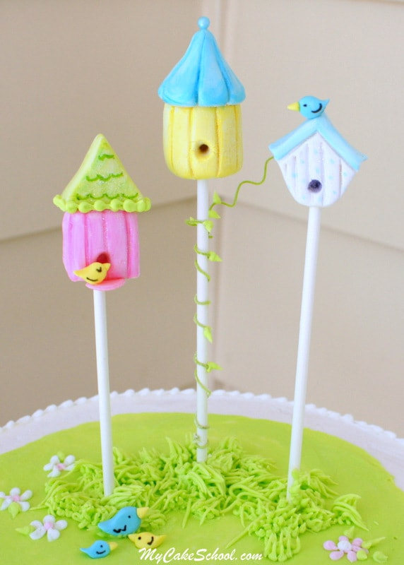 Adorable Birdhouse Cake Topper Tutorial by MyCakeSchool.com! SO cute and simple!