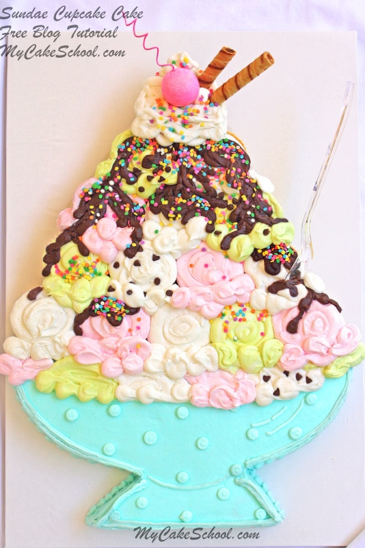 Adorable Ice Cream Sundae Cupcake Cake Tutorial by MyCakeSchool.com! So much fun for summertime gatherings and birthdays! Kids will love it!