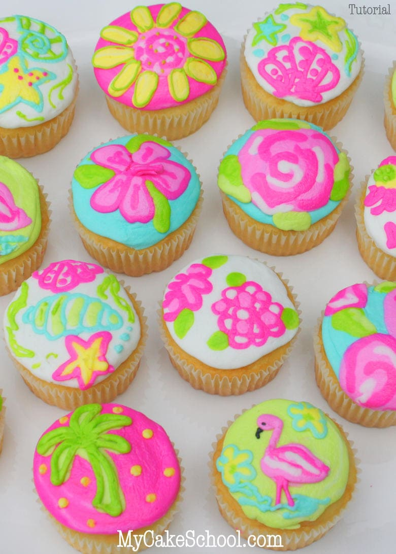 Bright and Cheerful Lilly Pulitzer Inspired Cupcakes! Free Tutorial by MyCakeSchool.com. Online Cake Decorating Tutorials, Videos, and Recipes!