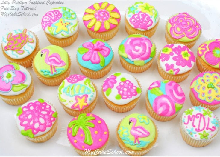 Cheerful Lilly Pulitzer Inspired Cupcake Decorating Tutorial {Blog}