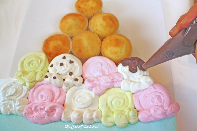 Free Tutorial! Ice Cream Sundae Cupcake Cake by MyCakeSchool.com!