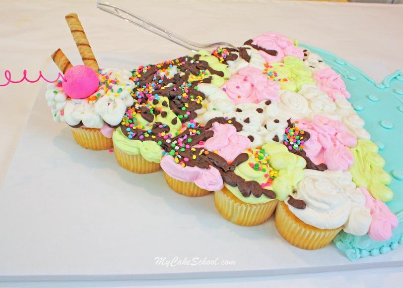 Ice Cream Sundae Pull-Apart Cupcake Cake! Free Tutorial by MyCakeSchool.com!
