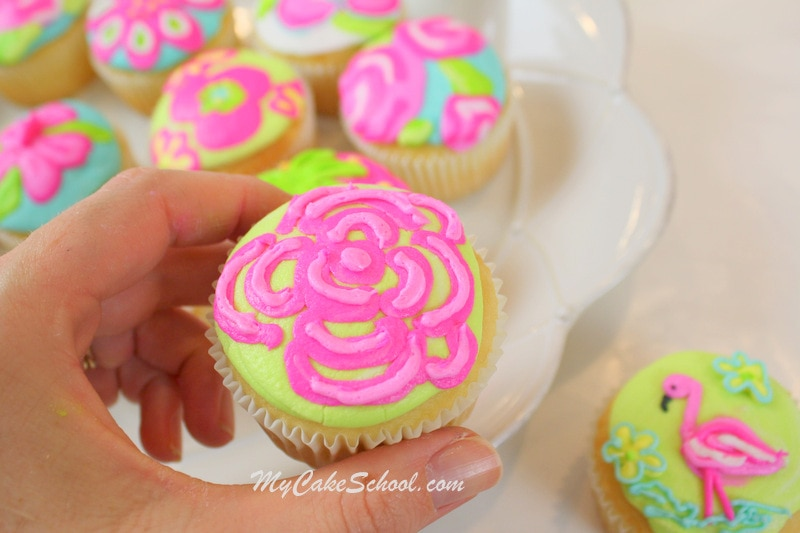 Bright and Cheerful Buttercream Cupcake Tutorial! Lilly Pulitzer Inspired. Free Tutorial by MyCakeSchool.com. Online Cake Decorating Tutorials, Videos, and Recipes!