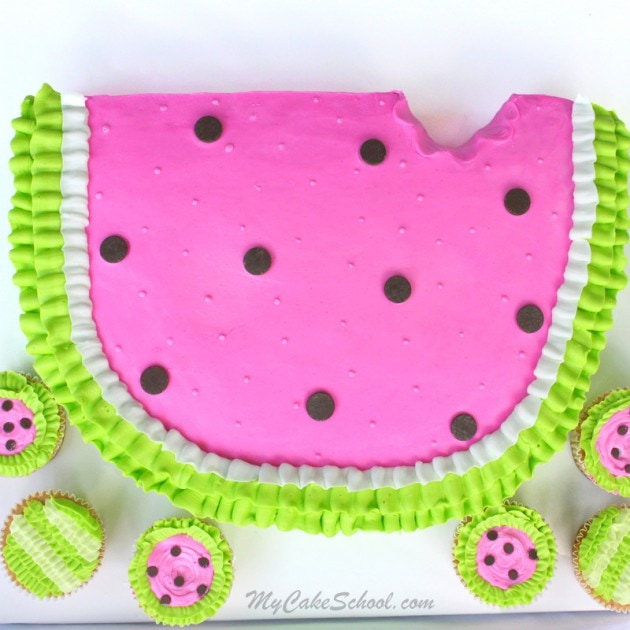 Adorable Watermelon Cake Tutorial with Matching Cupcakes! Free tutorial by MyCakeSchool.com. Perfect for summer birthdays and gatherings!