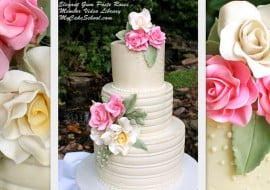 Learn how to make gum paste roses in this MyCakeSchool.com video tutorial! (Also featuring a cake frosted in white chocolate ganache.) My Cake School online cake classes, tutorials, recipes, and more!