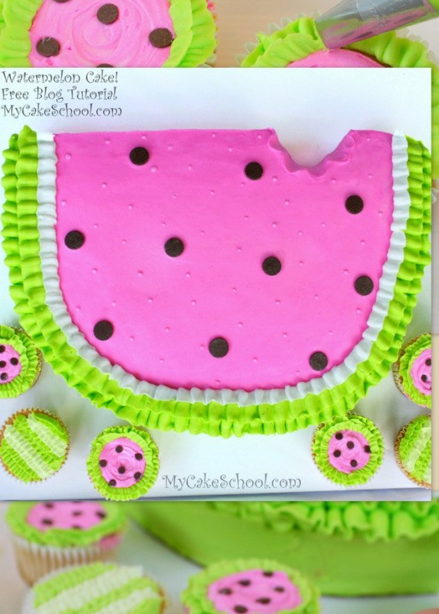 Adorable Watermelon Cake! Free Cake Tutorial by MyCakeSchool.com!