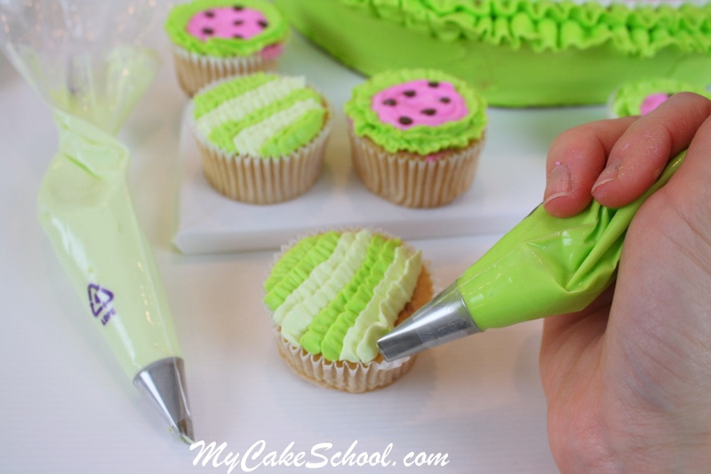 Adorable Watermelon Cake and Cupcakes in Buttercream! Free Step by Step cake and cupcake tutorial by My Cake School!
