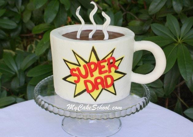 Cute Mug Cake Tutorial for Father's Day- by MyCakeSchool.com